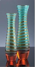 Medium Blue/Orange Striped Vase Cyan/Orange Chiseled Glass Product Image