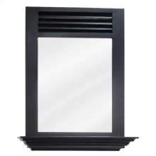"25-1/2"" x 30"" Espresso mirror with 4"" shelf and beveled glass"