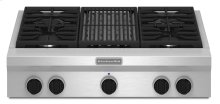 36-Inch 4-Burner with Grill, Gas Rangetop, Commercial-Style - Stainless Steel