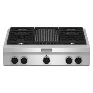 36-Inch 4 Burner with Grill, Gas Rangetop, Commercial-Style - Stainless Steel -