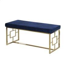 Blue/gold Velveteen Bench, Kd
