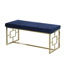 Blue/gold Velveteen Bench, Kd