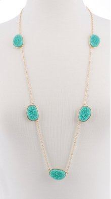 BTQ Small Teal Stones on Gold Chain Necklace