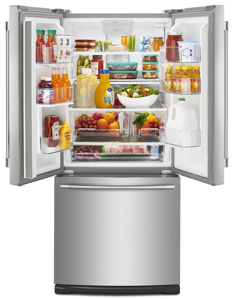 30 Inch Wide French Door Refrigerator With Exterior Water Dispenser  20 Cu.  Ft