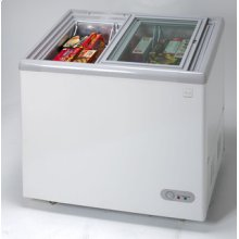 Model CF211G - 7.4 CF Commercial Glass Top Display Chest Freezer - White