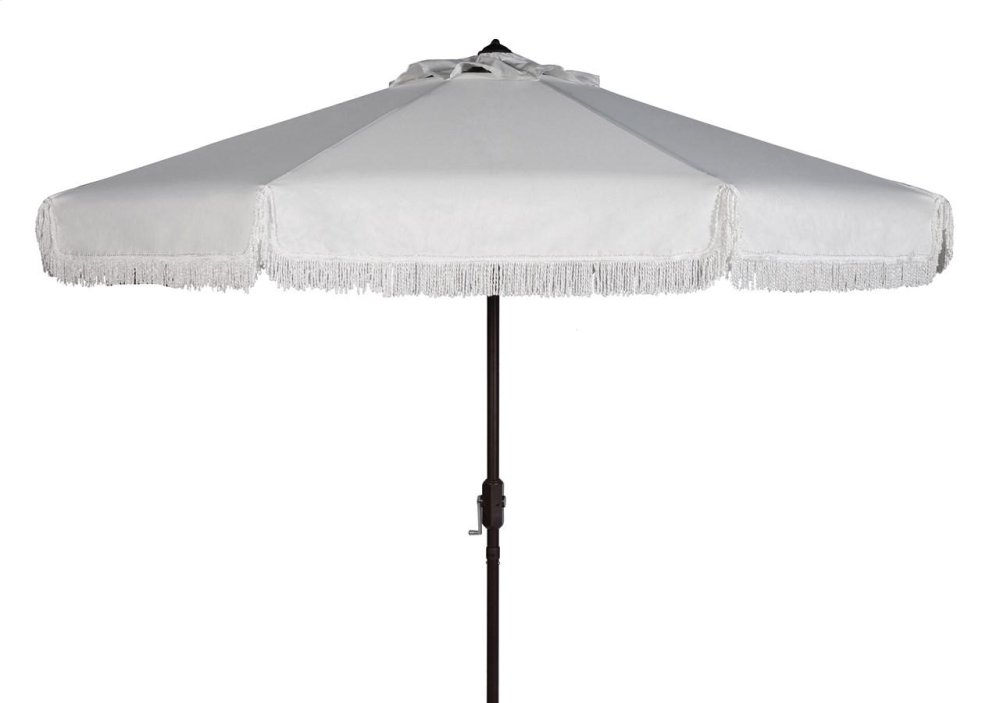 Milan Fringe 9ft Crank Outdoor Auto Tilt Umbrella - White