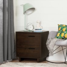 2-Drawer Nightstand - End Table with Storage - Brown Oak