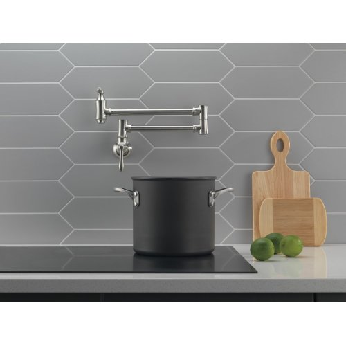 Stainless Traditional Wall Mount Pot Filler