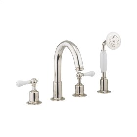 Belgravia White Lever Deck Mount 4 Hole Tub Faucet with Handshower - Polished Nickel