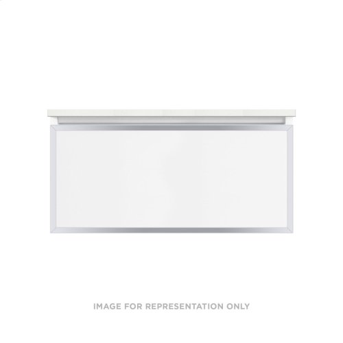 """Profiles 36-1/8"""" X 15"""" X 18-3/4"""" Framed Single Drawer Vanity In Matte White With Chrome Finish, Slow-close Full Drawer and Selectable Night Light In 2700k/4000k Color Temperature"""
