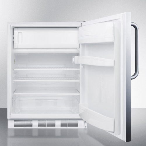 Built-in Undercounter ADA Compliant Refrigerator-freezer for General Purpose Use, W/dual Evaporator Cooling, Cycle Defrost, Lock, and Ss Exterior