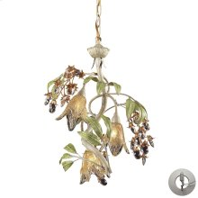 Huarco 3-Light Chandelier in Seashell and Sage Green with Floral-shaped Glass - Includes Adapter Kit