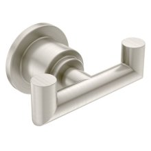 Arris brushed nickel double robe hook