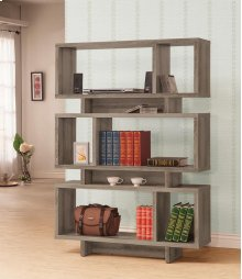 - Five tier bookcase finished in weathered grey- Constructed with MDF, particle board, and engineered veneer- Also available in cappuccino (#801405), white (#801406), and salvaged cabin (#800846)