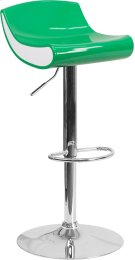 Contemporary Green and White Adjustable Height Plastic Barstool with Chrome Base Product Image