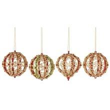 Red & Gold Flourish Ball Ornament. (12 pc. ppk.)