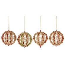 Red & Gold Flourish Ball Ornament. (12 pc. ppk.)