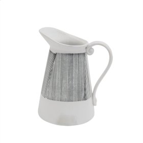 "Ceramic Pitcher Vase 9.5"", Gray Stripe"