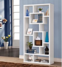 - Ten shelf bookcase finished in white - Constructed with MDF, particle board, and engineered veneer- Also available in cappuccino (#800259) and weathered grey (#800512)