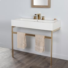 """Floor-standing metal console stand with a towel bar. It must be attached to a wall.W: 39 3/8"""" D: 18 1/2"""" H: 29"""""""