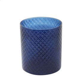 "7"" Cut Glass Candle Holder, Blue"