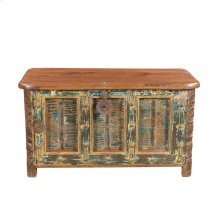 Carved Old Door Chest