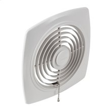 "8"" 250 CFM Chain-Operated Wall Fan, White Square Plastic Grille"