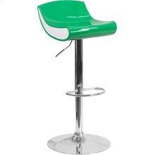 Contemporary Green and White Adjustable Height Plastic Barstool with Chrome Base
