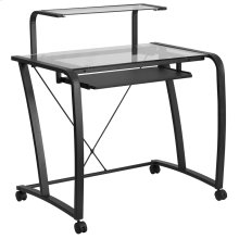 Mobile Glass Computer Desk with Pull-Out Keyboard Tray and Monitor Platform