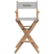 Embroidered Bar Height Directors Chair in Gray