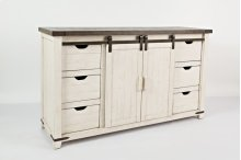 """Madison County 60"""" Barn Door TV Console - Vintage White"""