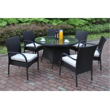210 / Liz.p13- 7PC OUTDOOR PATIO TABLE SET [P50265(1)+P50161(6)]