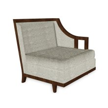 """29"""" Walnut & Dark Grey Rattan Left One-Seat Sofa Sectional, Upholstered in Standard Outdoor Fabric"""