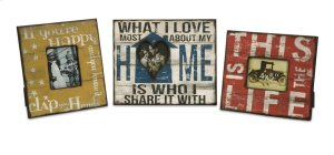 Morris Home Happy and Life Frames - Set of 3