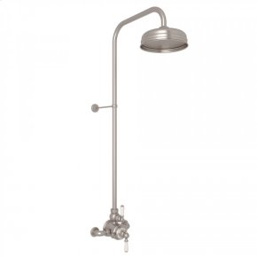 Satin Nickel Perrin & Rowe Edwardian Thermostatic Shower Package with Metal Lever