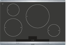 "30"" Induction Cooktop with SteelTouch Control and AutoChefe 800 Series - Black with Stainless Steel Strips NIT8065UC"