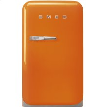 "Approx 16"" 50's Retro Style Mini Refrigerator, Orange, Right hand hinge"