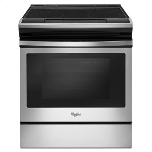 4.8 cu. ft. Guided Electric Front Control Range With The Easy-Wipe Ceramic Glass Cooktop - BLACK-ON-STAINLESS