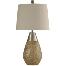 Nicobar Molded Table Lamp with Brushed Steel Metal Accent & Hardback Shade
