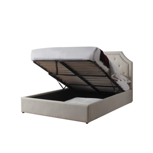 Hermosa Beige Upholstered Full Bed With Hydraulic Lift Storage