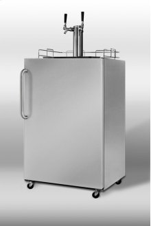 Commercially approved outdoor beer dispenser in stainless steel with dual tap system