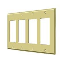 Switch Plate, Quadruple Rocker - Polished Brass