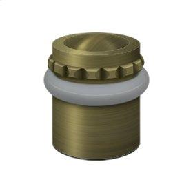 """Round Universal Floor Bumper Pattern Cap 1-1/2"""", Solid Brass - Antique Brass"""