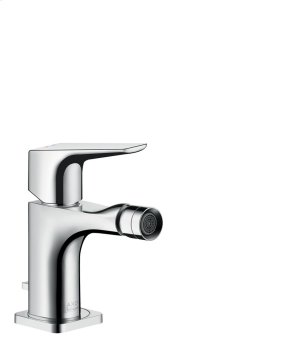 Chrome Single lever bidet mixer with lever handle with pop-up waste set Product Image