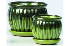 Green Chaudron Petits Pots with Attached Saucer - Set of 2