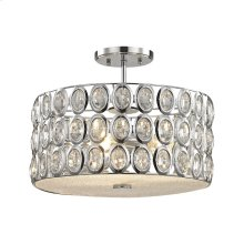 Tessa 3-Light Semi Flush in Polished Chrome with Clear Crystal