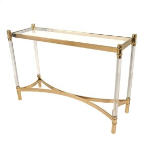 Fresca KD Acrylic Console Table Glass Top, Transparent/Gold