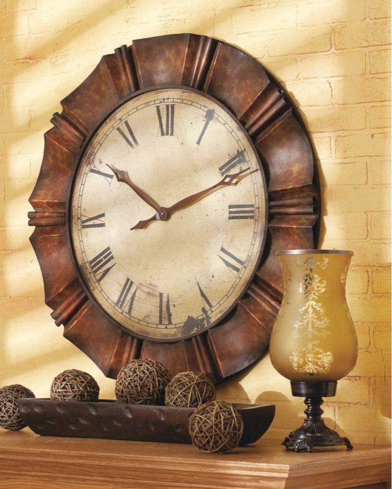 Large Antique Copper Wall Clock