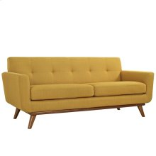 Engage Upholstered Fabric Loveseat in Citrus
