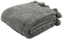 POM POM KNIT THROW - Dark Grey / Natural